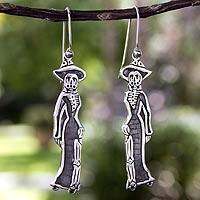 Sterling silver dangle earrings, 'Catrina Chic' - Unique Sterling Silver Catrina Earrings