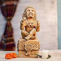 Ceramic figurine, 'Prince of Flowers' - Archaeological Aztec Ceramic Sculpture Handcrafted in Mexico