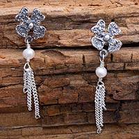Pearl flower earrings, 'Floral Night' - Floral Sterling Silver Pearl Earrings from Mexico