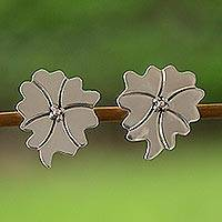 Earrings, 'Moon Flower' - Earrings