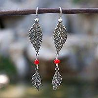 Sterling silver dangle earrings, 'Leaves and Berries' - Handmade Sterling Silver Glass Bead Earrings