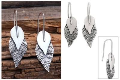 Sterling silver drop earrings, 'Ode to Nature' - Sterling silver drop earrings