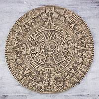 Ceramic plaque, 'Aztec Sunstone' - Mexico Collectible Archaeological Ceramic Calendar