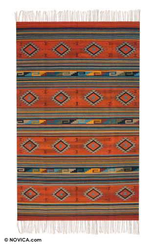 Zapotec rug, 'Diamonds at Dusk' (6x10) - Zapotec Wool Rug Red Multi 6 X 10 Ft Handmade in Mexico