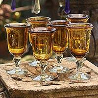 Blown glass goblets, 'Golden Amber' (set of 6, large) - Hand Blown Goblets Glasses Set of 6 Mexico