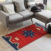 Zapotec wool rug, 'Universe Star' (2.5x5) - Fair Trade Zapotec Rug (2.5x5)