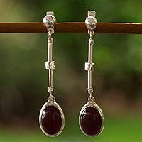Carnelian dangle earrings, 'Frozen Embers' - Carnelian dangle earrings