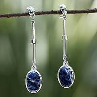 Sodalite dangle earrings, 'Cobalt Magic' - Sodalite Hand Crafted Sterling Silver Dangle Earrings