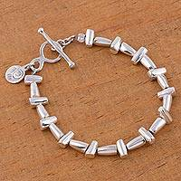 Sterling silver link bracelet, 'Sun Circle' - Unique Sterling Silver Link Bracelet