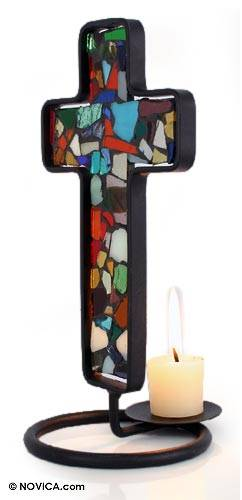 Stained glass candleholder, 'Color of Light' - Stained glass candleholder