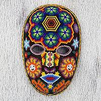 Beadwork mask, 'Huichol Charm' - Unique Huichol Beaded Mask with Peyote