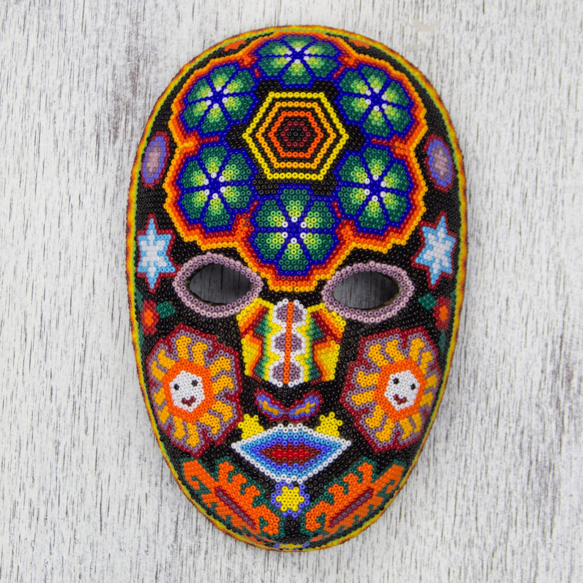 Unique Huichol Beaded Mask With Peyote Huichol Charm Novica
