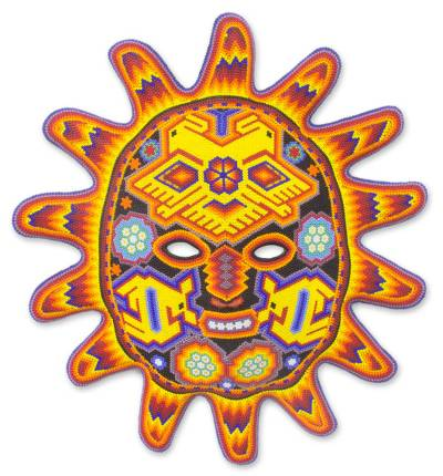 Beadwork mask, 'Red Sunset' - Hand Made Mexican Hand Beaded Huichol Mask