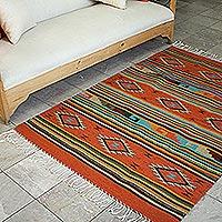Zapotec wool rug, 'Fuego' (4x6) - Handmade Wool Area Rug Geometric Design (4x6)