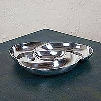 Aluminum serving tray, 'Pinwheel' - Artisan Handmade Mexican Pewter Serving Tray Hors D'Oeuvres