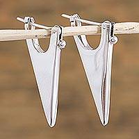 Sterling silver drop earrings, 'Mystic Lance' - Sterling silver drop earrings