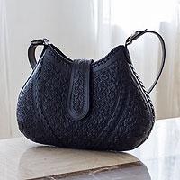 Leather shoulder bag, 'Hip Chic in Black' - Hand Tooled Leather Shoulder Bag Handbag