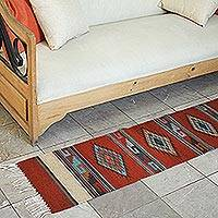 Zapotec wool table runner, 'Fiery Sky' - Zapotec wool table runner