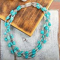Turquoise torsade necklace, 'Three Paths' - Turquoise Allure Sterling Silver Choker Necklace
