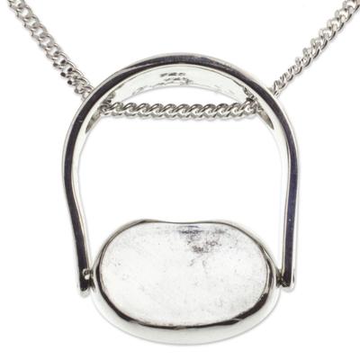 Quartz pendant necklace, 'Sterling Aura' - Quartz pendant necklace