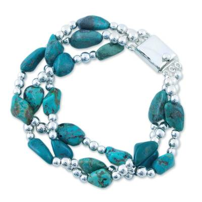 Turquoise bracelet, 'Fortunes' - Handcrafted Sterling Silver Turquoise Bracelet