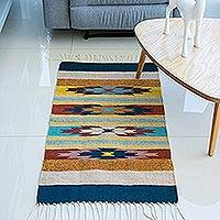Zapotec wool rug, 'Stars on the Horizon' (2x3.5) - Fair Trade Geometric Rug (2x3.5)