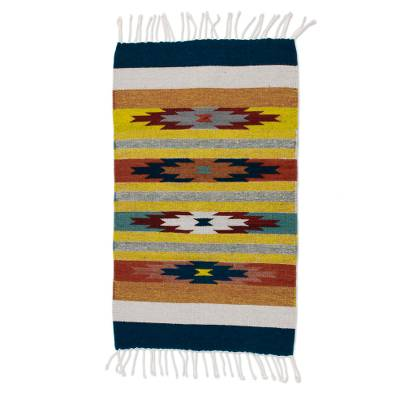 Zapotec wool rug, 'Stars on the Horizon' (2x3.5) - Artisan Crafted Geometric Rug (2x3.5)