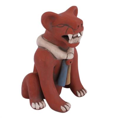 Handcrafted Ceramic Wild Cat Sculpture from Mexico