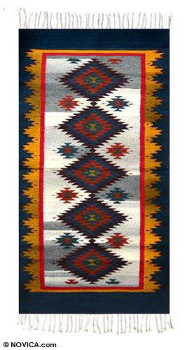 Zapotec Wool Area Rug 2 5x5 Blue Starlight Novica