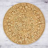 Ceramic plaque, 'Mexica Calendar' - Fair Trade Ceramic Aztec Calendar