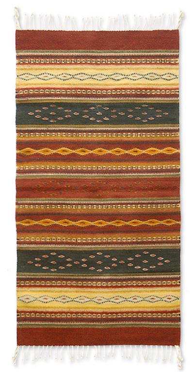Zapotec wool rug, 'Dainzu Earth' (2.5x5) - Zapotec wool rug (2.5x5)