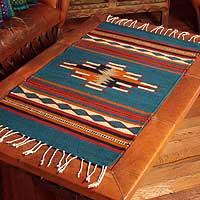 Zapotec wool rug, 'Diamond Design' (2x3.5) - Zapotec wool rug (2x3.5)