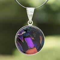 Dichroic art glass pendant necklace, 'Blue Kaleidoscope' - Artisan Crafted Dichroic Glass Pendant Necklace