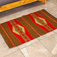 Zapotec wool rug, 'Warm Sierra' (2x3.5) - Zapotec wool rug (2x3.5)