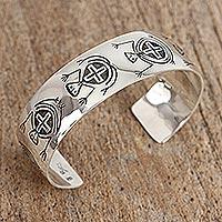 Sterling silver cuff bracelet, 'Simian Dance' - Sterling silver cuff bracelet
