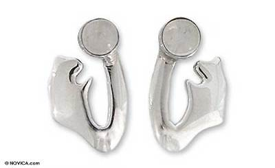 Taxco Sterling Silver Moonstone Earrings