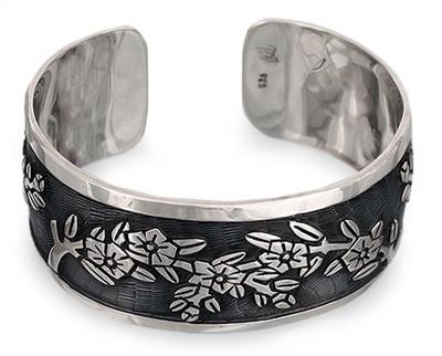 Sterling silver cuff bracelet, 'Promises' - Unique Floral Sterling Cuff Bracelet