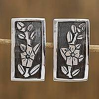 Sterling silver clip-on flower earrings, 'Promises' - Hand Crafted Taxco Sterling Clip-On Drop Earrings