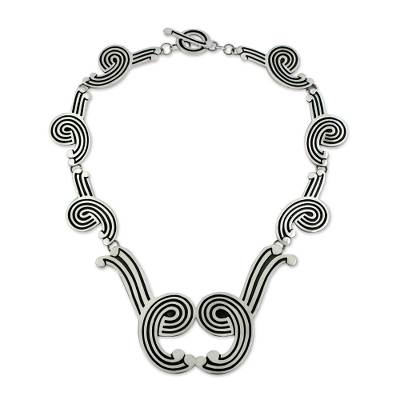 Handcrafted Taxco Silver Statement Necklace
