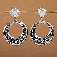 Sterling silver dangle earrings, 'Sierra' - Artisan Crafted Taxco Sterling Earrings