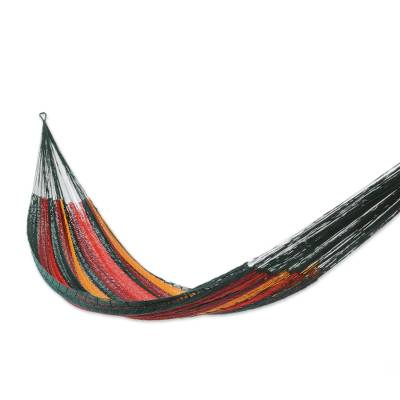 Cotton hammock, 'Red Wine Sunset' (double) - Unique Rope Hammock from Mexico (Double)