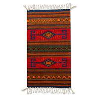 Zapotec wool rug, 'Blue Sun' (2x3.5) - Handcrafted Geometric Wool Area Rug (2x3.5)