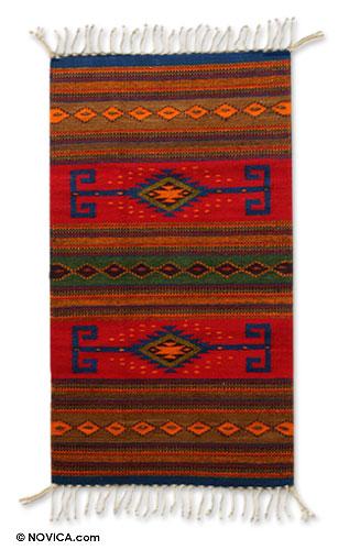 Handcrafted Geometric Wool Area Rug (2x3.5)