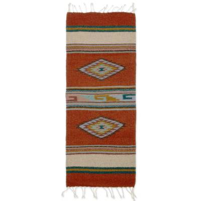Zapotec wool rug, 'Diamond-Stars' (1.5x3) - Hand Made Zapotec Area Rug (1.5x3)