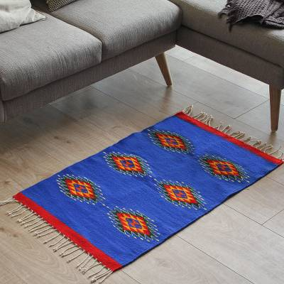 Zapotec wool rug, Six Suns (2x3.5)
