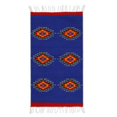 Zapotec wool rug, 'Six Suns' (2x3.5) - Mexican Blue and Red Zapotec Wool Area Rug (2x3.5)