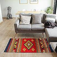 Zapotec wool rug, 'Energy of Life' (2.5x5)