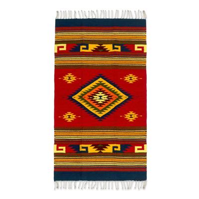 Zapotec wool rug, 'Energy of Life' (2.5x5) - Unique Geometric Area Rug (2.5x5)