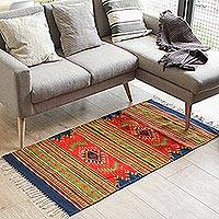 Zapotec wool rug, 'Summer Forest' (2.5x5) - Hand Crafted Diamond Motif Wool Area Rug (2.5x5)