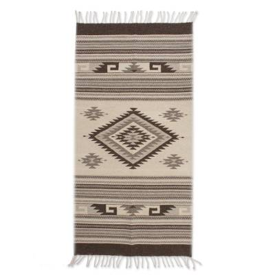 Zapotec wool rug, 'Mythic Sun' (2.5x5) - Diamond Sun Handloomed Zapotec Rug 2.5 X5 Mexico